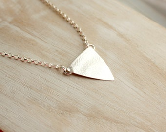 Sterling Silver Textured Triangular Pendant Necklace
