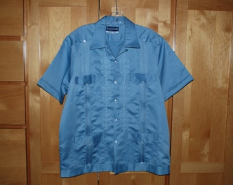 Guayabera Wedding Shirt Blue Vintage Chester's Merida Mexico Satin Size 40