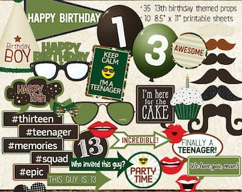 Photo Booth Props, HAPPY 13TH BIRTHDAY, boy, printable props, instant digital download, camo, green, brown, birthday party