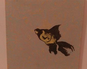 Black moor fish painting