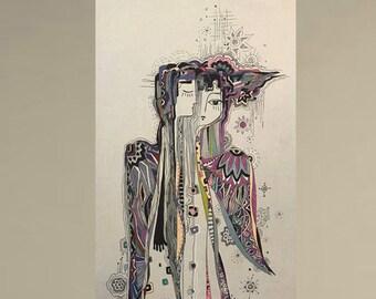 Beginning. Figurative abstraction, Original graphic arts, Print on Canvas. Modern Art