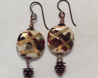 Pinecone earrings. Kazuri ceramic earrings.African sunset and pinecone earrings.