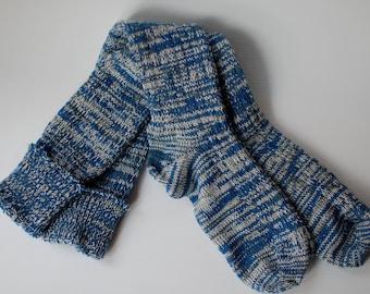 Women's Socks Blue Knee High Boot CSM Handcranked Variegated Ragg Wool Cotton Custom Christmas Gift