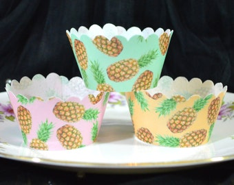 Edible Cupcake Wrappers Pineapple Tropical Mix Chintz x 12 Green Orange Pink Wafer Paper - Fruits Patterned Fairy Cake Cupcake Wedding Party