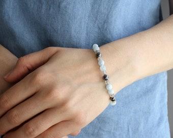 Healing Bracelet for Calm . Labradorite Aquamarine Bracelet . Crystal Healing Bracelet Aries . Hematite and Crystal Bracelet for Energy NEW