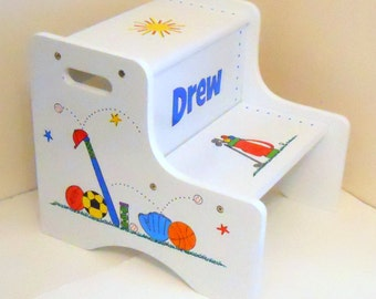 Large Personalized Two Step Stool for Children Sports Baseball Football Hockey Golf Basketball Tennis Soccer