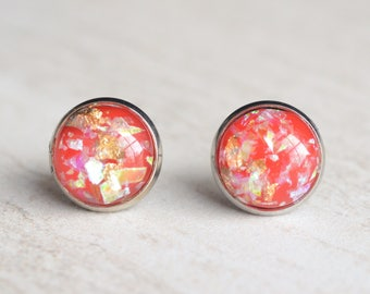 Red Gold Silver Lucite Bridesmaid Stud Earrings