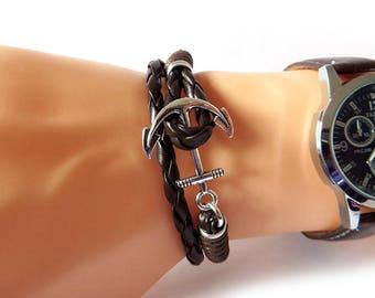 Bracelet still man-style nautical leather bracelet anchor SILVER Wrap, for him, boy, gift, Navy