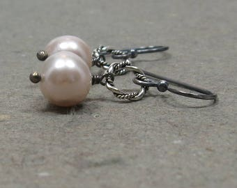 White Pearl Earrings June Birthstone Sterling Silver Bride, Wedding Oxidized Gift for Her