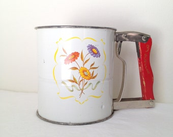 Flour Sifter Vintage Androck Flour Sifter Hand-i-Sift Red Kitchen Tool