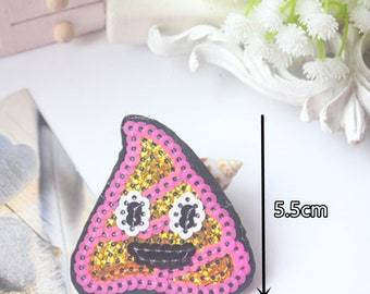 Poop Emoji Sequin  Iron on Patch Applique PE040618