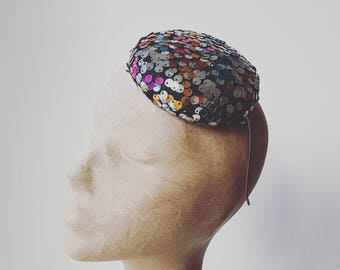 Sequinned Button Beret