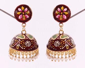 German silver enamel paint earring