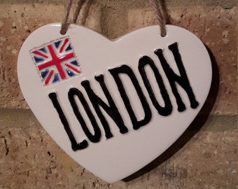 LONDON HEART-Union Jack-Ceramic Heart-Wall Decor-London memorabilia-Hanging Heart-British