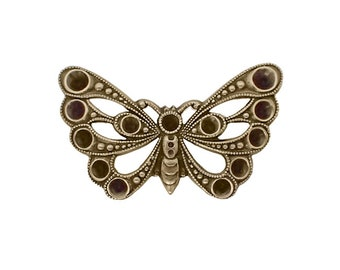 Butterfly Shaped Multi-Stone Chaton Setting Antiqued Brass Ox - Setting for Small Pointed Back Rhinestones - Nickel Free - 2 Pieces