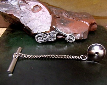 CHOPPER MOTORCYCLE Tie Tack Sterling Silver Free Domestic Shipping