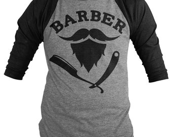 Barber Shirts 3/4 Sleeve Raglan Mustache Beard Razor Tee Barbers Hair Dresser Shirt