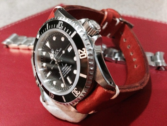 Genuine leather watch band, handmade orange color Leather watch strap For  Watch 18mm/19mm/20mm with 16mm buckle