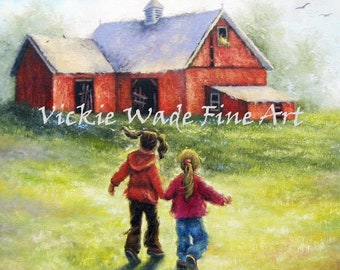 Two Sisters Happy At the Farm Art Print, country sisters, country girls, two girls brunette and blonde, red barn painting, Vickie Wade Art