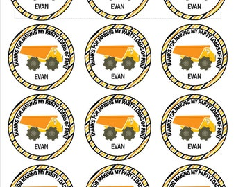 Construction birthday party hard hat stickers DIGITAL DOWNLOAD- birthday party, dump truck party, baby shower, boy birthday party