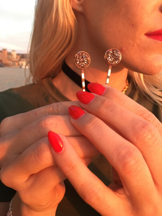 Pair Druzy Hair pins drusy rose gold hair pin rose gold