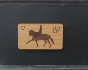 Original Dressage Horse and Lady Rider Wood Magnet