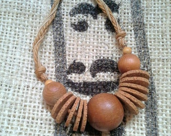 Vintage jewellery, handmade wooden chocker, vintage tribal jewellery, vintage necklace, wooden necklace, cork wood chocker, vintage chocker
