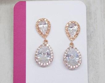 Earrings Rosegold Bride Wedding Jewelry