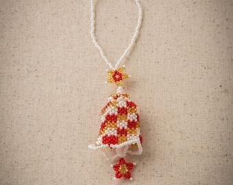 Beaded Bell Holiday Ornament, Beaded Christmas Tree Ornament, Guatemalan-made