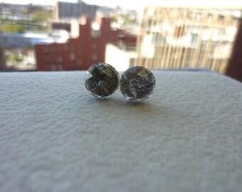 Black Faceted Rutile Stud Post Earrings