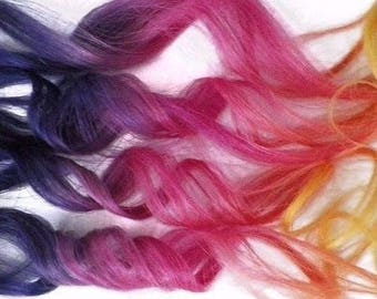 Clip in Human Hair Extensions Rainbow Colormelt Ombre Hair Purple Pink Yellow