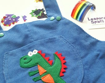 Dinosaur corduroy dungarees with applique pocket - full length