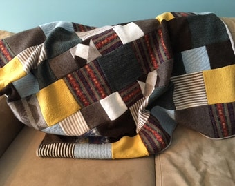 Recycled Wool Quilt - Earth and Sky
