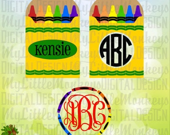 Kids SVG ~ Crayon SVG ~ Crayon Monogram ~ School Svg ~ Kids Shirt ~ Monogram Svg ~ Commercial Use SVG ~ Clip Art ~ Cut File eps dxf png jpg