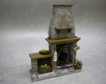 DollHouse Stone Fireplace - Cottage, Tudor, Medieval Cooking Dolls house Miniature Fire One Inch 1:12 Scale Handmade