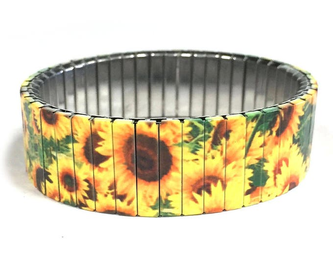 Sunflowers bracelet, stretch Bracelet, Repurpose Watch Band, Sublimation, Stainless Steel, Wrist Band, gift for friend