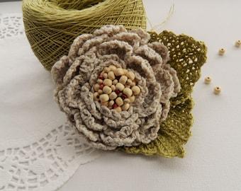 Crochet Linen Flower Brooch - Crochet Peony Rose - Corsage Brooch - Natural Linen Brooch -Accessory - Mother's Day Gift