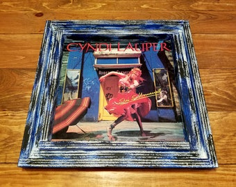 "Vinyl record album cover frame, handcrafted from reclaimed wood with vintage 1983 Cyndi Lauper ""She's So Unusual"" cover"