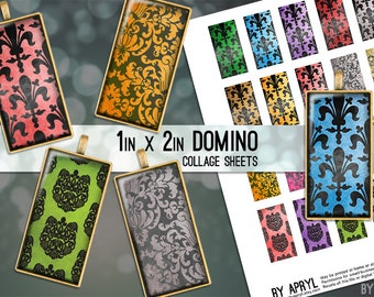 Domino Digital Collage Sheet 1x2 Damask Images for Glass and Resin Pendants Magnets Paper Craft JPG D0011