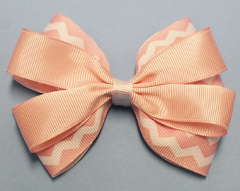 Chevron Layered Hair Bow - Chevron Layered Boutique Hair Bow - Chevron Stacked Hair Bow -