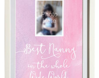 Nanny quotes etsy best nanny in the world print personalised nanny print with your photo perfect mothers negle Gallery
