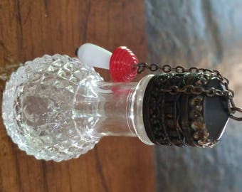 Antique Irice Stubby Brass Cut Glass Perfume Bottle With Charm