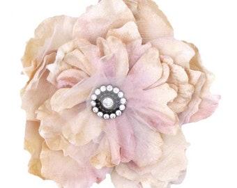 velvet rose corsage. millinery velvet rose. rose hair accessory. millinery couture. champagne velvet cabbage rose. wedding roses..