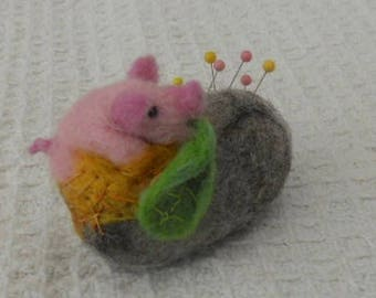 Pig on a Pebble, pebble pin cushion, felted pin cushion, tiny pink pig, collectable pig, pig ornament, Easter gift, mothers day, sewing gift