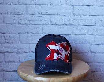Baseball Mom Trucker Hat in Distressed Denim - Baseball Mom Hat - Softball Mom Hat - Soccer Mom Hat - Ladies Hat - Trucker Hat