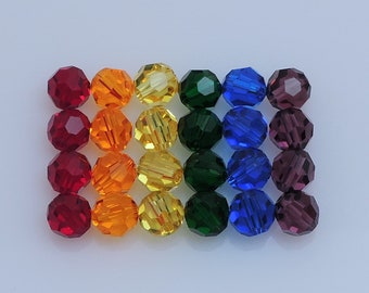 Swarovski Rainbow Crystal, Article #5000 6mm Round Beads, Six Colors, Twenty-Four(24)Pcs., 4 In Each Color