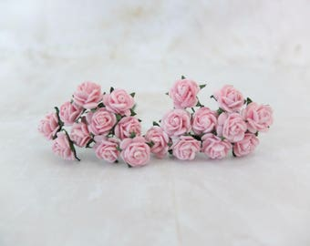 20 10mm soft pink paper roses - pink paper flowers - mulberry paper pink rose