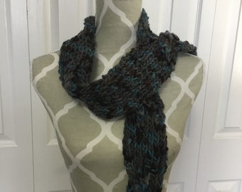 Hand knit wool scarf with braided details