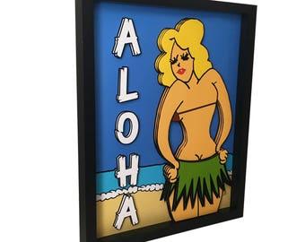 Hula Girl Art Tiki Art Print Tiki Decor Hula Girl Print 3D Art Hawaiian Decor Aloha Sign Tiki Culture Tiki Bar Decor Tiki Room Pop Art print