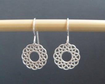 "sterling silver wreath earrings filigree open circle small petite dangle leverback lever back hook ear wire simple modern jewelry. 1/2"""